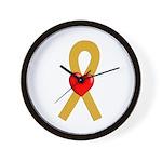 Gold Ribbon Heart Wall Clock