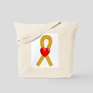 Gold Ribbon Heart Tote Bag
