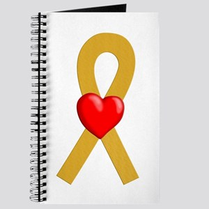 Gold Ribbon Heart Journal