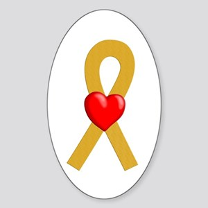 Gold Ribbon Heart Oval Sticker