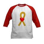 Gold Ribbon Heart Kids Baseball Jersey