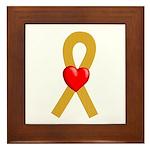 Gold Ribbon Heart Framed Tile