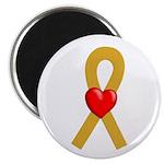 Gold Ribbon Heart Magnet