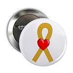 Gold Ribbon Heart Button