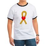 Gold Ribbon Heart Ringer T