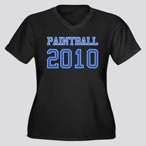 """""""Paintball 2010"""" Women's Plus Size V-Neck Dark T-S"""