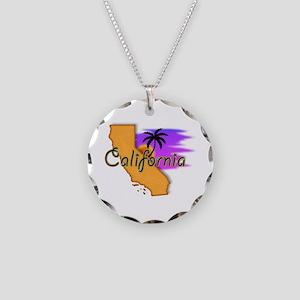 California Necklace Circle Charm