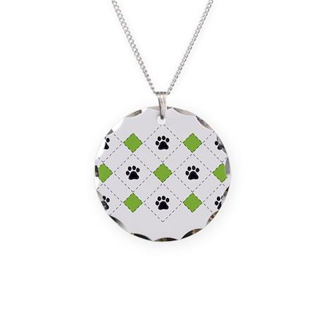 Argyle Paw Prints Necklace Circle Charm