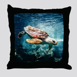 Tropical Sea Turtle Diving in the Blu Throw Pillow