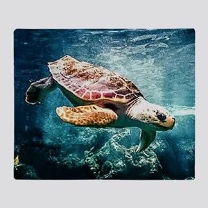 Tropical Sea Turtle Diving in the Bl Throw Blanket