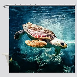Tropical Sea Turtle Diving in the B Shower Curtain