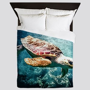 Tropical Sea Turtle Diving in the Blue Queen Duvet
