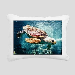 Tropical Sea Turtle Divi Rectangular Canvas Pillow
