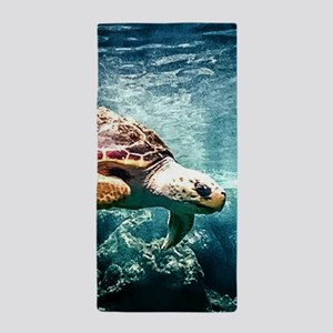 Tropical Sea Turtle Diving in the Blue Beach Towel