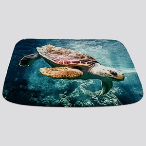 Tropical Sea Turtle Diving in the Blue Car Bathmat