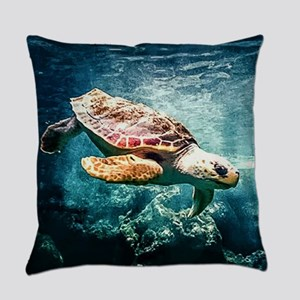 Tropical Sea Turtle Diving in the Everyday Pillow