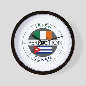 Irish Cuban heritage flags Wall Clock