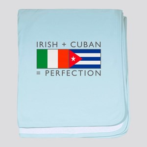 Irish Cuban heritage flags baby blanket