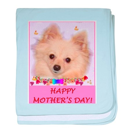 Pomeranian Mother's Day baby blanket