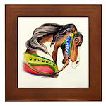 Pinto Carousel Horse Framed Tile