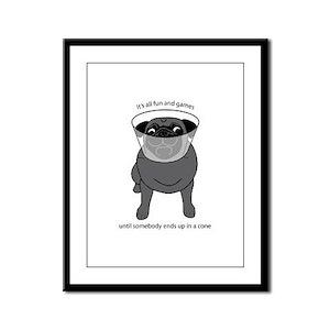 Conehead Black Pug Framed Panel Print
