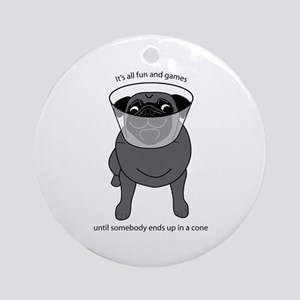 Conehead Black Pug Ornament (Round)