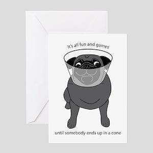Conehead Black Pug Greeting Card