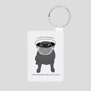 Conehead Black Pug Aluminum Photo Keychain