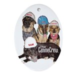 Bum Sniffing Dogs Oval Ornament