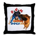 Bum Sniffing Dogs Throw Pillow