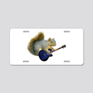 Squirrel with Blue Guitar Aluminum License Plate
