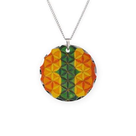 Rasta Necklace Circle Flower of Life Charm