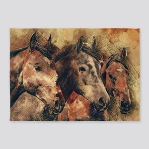 Galloping Wild Mustang Horses 5'x7'Area Rug