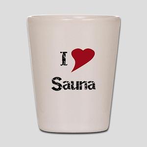 I Love Sauna Shot Glass