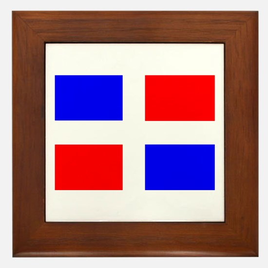 Dominican Flag Framed Tile