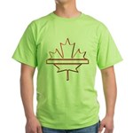 Maple leaf outline logo vride Green T-Shirt