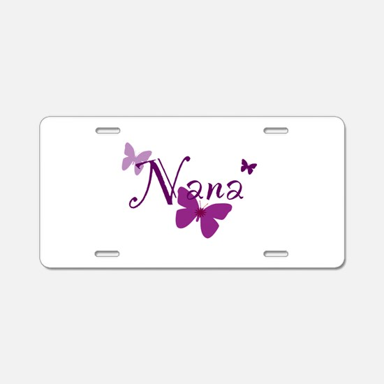 Nana Butterflys Aluminum License Plate