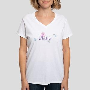 Nana Flowers Women's V-Neck T-Shirt