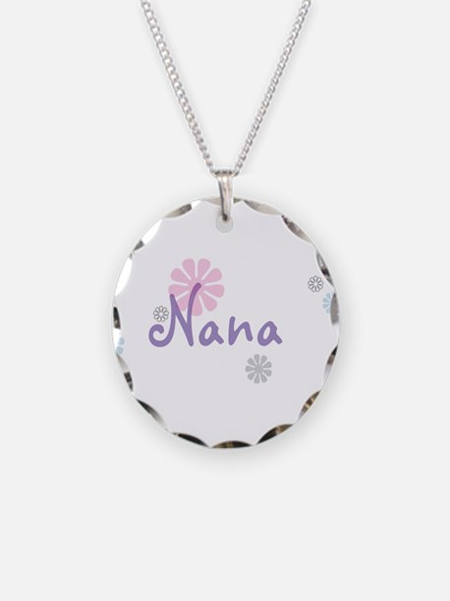 Nana Flowers Necklace Circle Charm