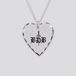 BDB Dagger Logo White Heart Charm Necklace
