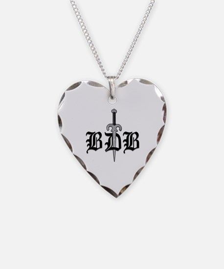 BDB Dagger Logo White Heart Charm Necklace