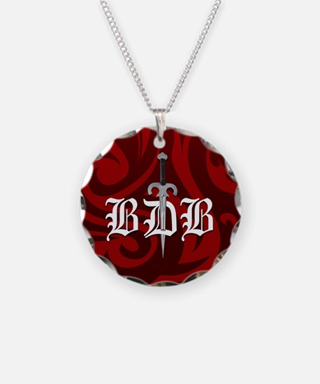BDB Dagger Logo Red Circle Charm Necklace