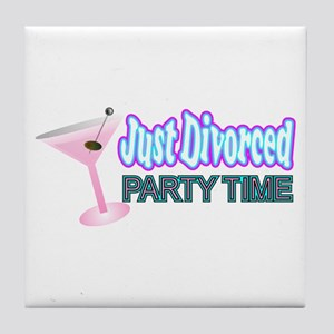divorce party just divorced Tile Coaster