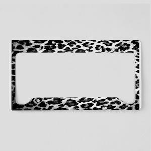 Black & White Leopard Print License Plate Holder