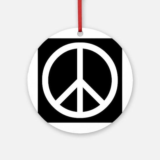 White Peace Sign Round Ornament