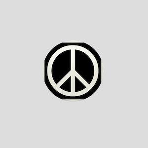 White Peace Sign Mini Button
