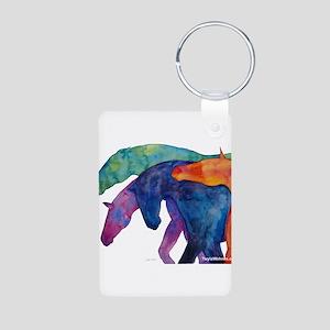 Rainbow Horses Aluminum Photo Keychain