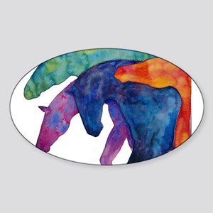 Rainbow Horses Sticker (Oval)