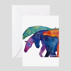 Rainbow Horses Greeting Card