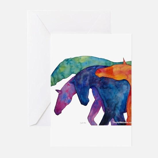 Rainbow Horses Greeting Cards (Pk of 10)